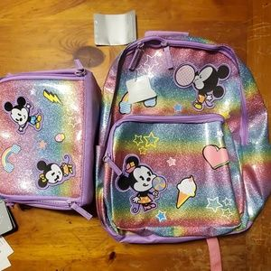 Mickey and Minnie backpack and lunchbag set